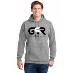 GSR- Ultimate Cotton® - GRAY HOODIE Pullover Sweatshirt, BLACK & WHITE LOGO