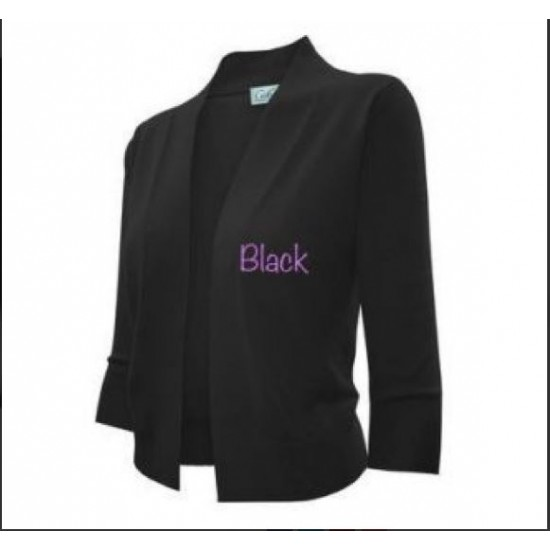 Lady's Knit Cropped Sweater Bolero Cardigan Three Quarter Sleeve Black