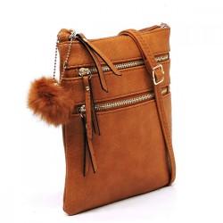 Multi Zip Crossbody Bag with Pompom Keychain