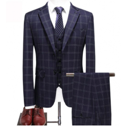 ( FASHION MEN PLAID CLASSIC MTM SUIT SLIM FIT BUSINESS 3 PIECE SUIT )
